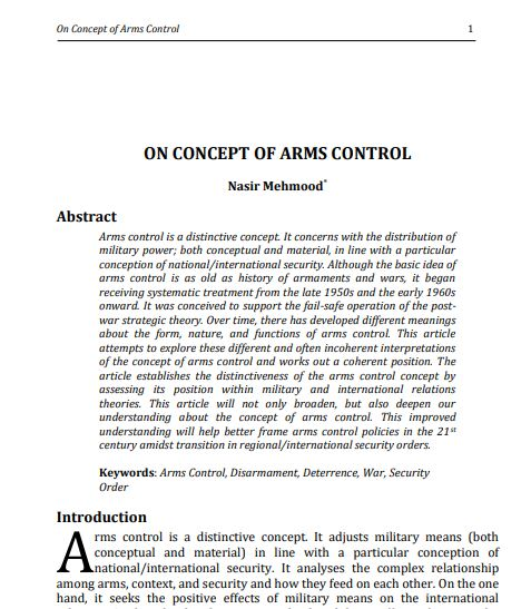 On Conept Of Arms Control
